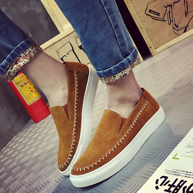2016 Hot Sale Spring/ Autumn Men Loafers Shoes genuine leather Slip On Flats Thick Bottom Mens Shoes Casual shoes