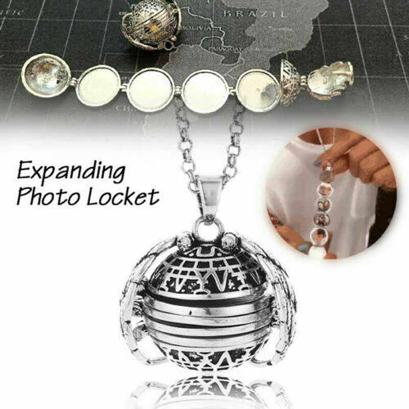22mm Photo Box Necklace Lucky Angel Wings Image Cage for Gift Pendant Long Chain Necklace Lover Gifts