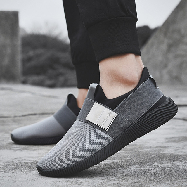 YOUYEDIAN 2019 Men Casual Shoes Mash Slip On Men Sneakers Round Toe Outdoor Trainers Shoes Casual Men Sneakers Black