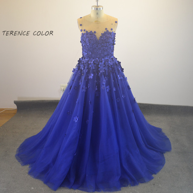7114050159 O-cuello Azul Abalorios de Flores de Perlas Formales Vestidos de Noche  Verdadero de La