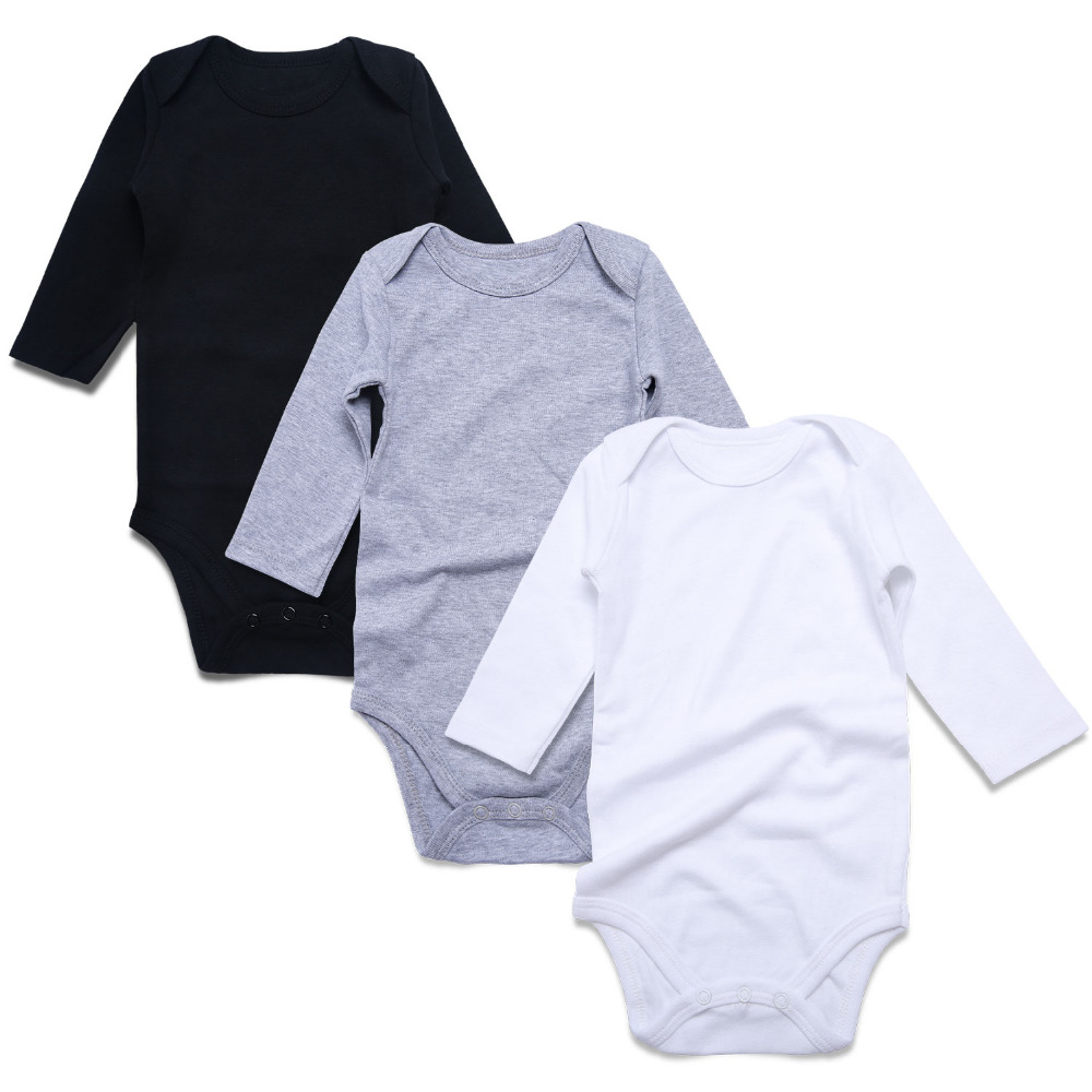 3 PCS Newborn Baby Body Suits Unisex Baby Rompers Solid Black White Long Sleeve Babes Clothing Overall Cotton Baby Clothing Set
