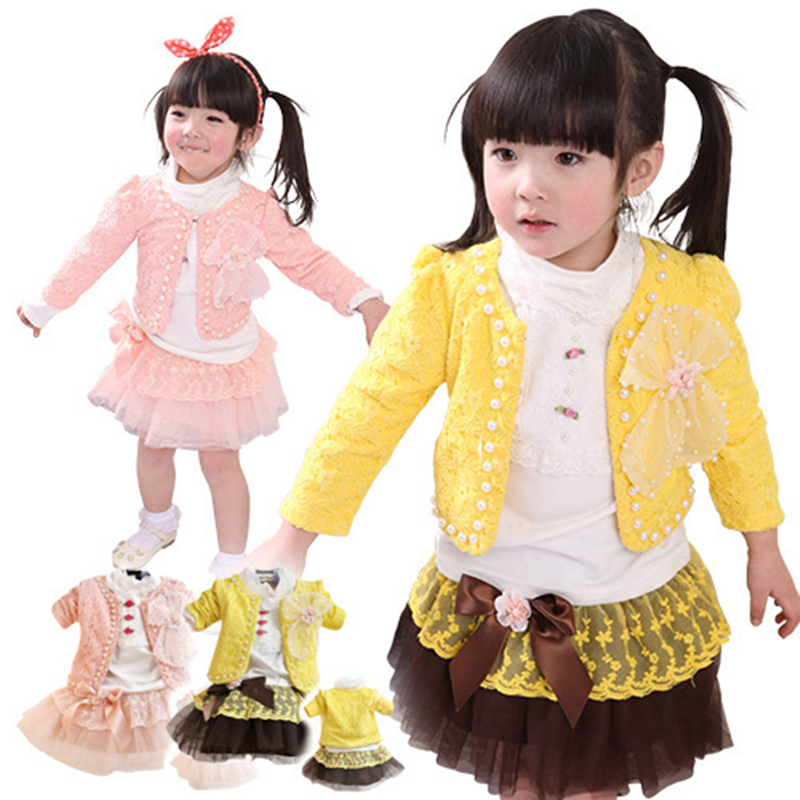 ФОТО Anlencool Spring Roupas Infantil Meninas free Shipping Baby Clothes Girls Clothing Set Cotton Three-piece Pearl Girl Skirt Suit