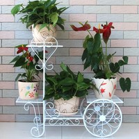 Fashion iron flower ladder French multi layer flower pot holder solid wood antique white