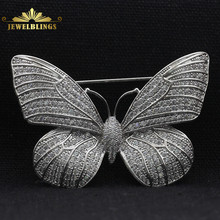 Fabulous Full Micro Pave CZ Butterfly Brooch Silver Tone Tinny Round Stone Paved Antique Victorian Butterfly Broaches for Women