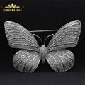 Fabuloso cheio micro pave cz broche borboleta tom de prata  rodada pedra pavimentada vitoriano antigo borboleta broches para as mulheres