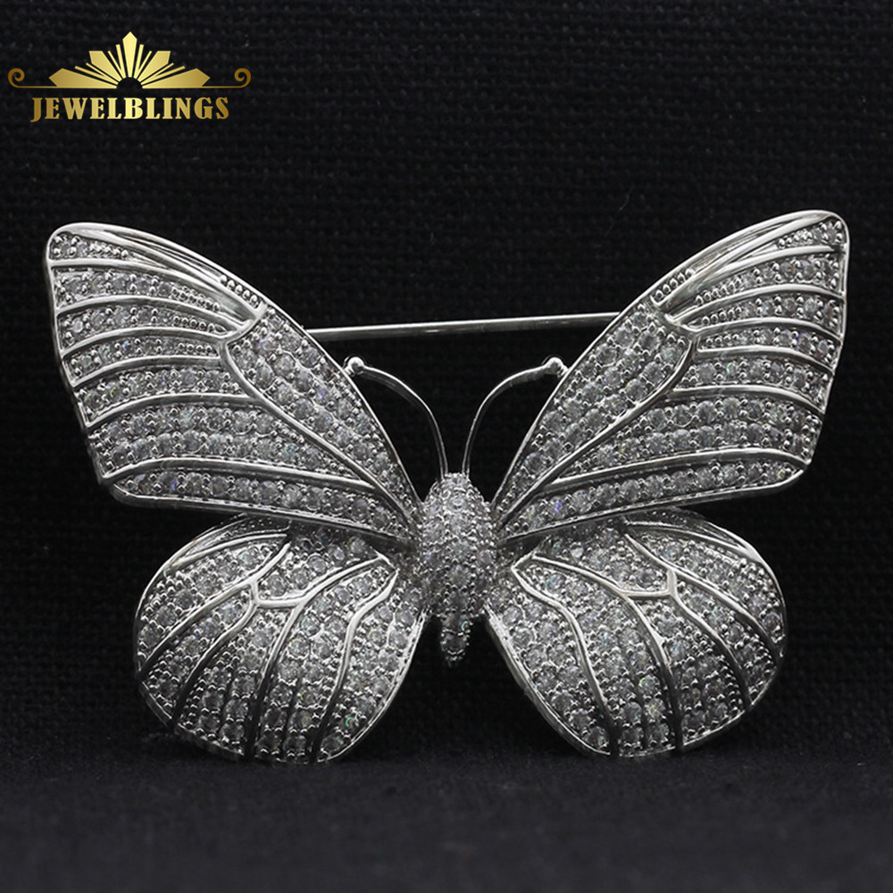Fabulous Full Micro Pave CZ Butterfly Brosch Silverton Tinny Round Stone Paved Antique Victorian Butterfly Broaches for Women