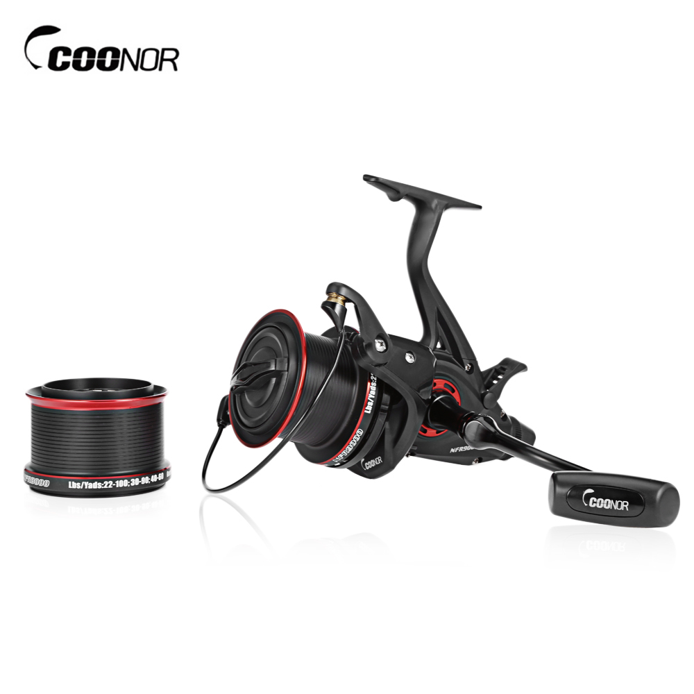 COONOR NFR9000 +NFR8000 4.6:1 Full Metal Spinning Fishing Reel 12 + 1 BB Carp Fishing Coils with Double Spool Folding Handle coonor j12 9 1bb metal spool fishing reel 5 1 1 gear ratio spinning reel full metal spool with double t shape handles