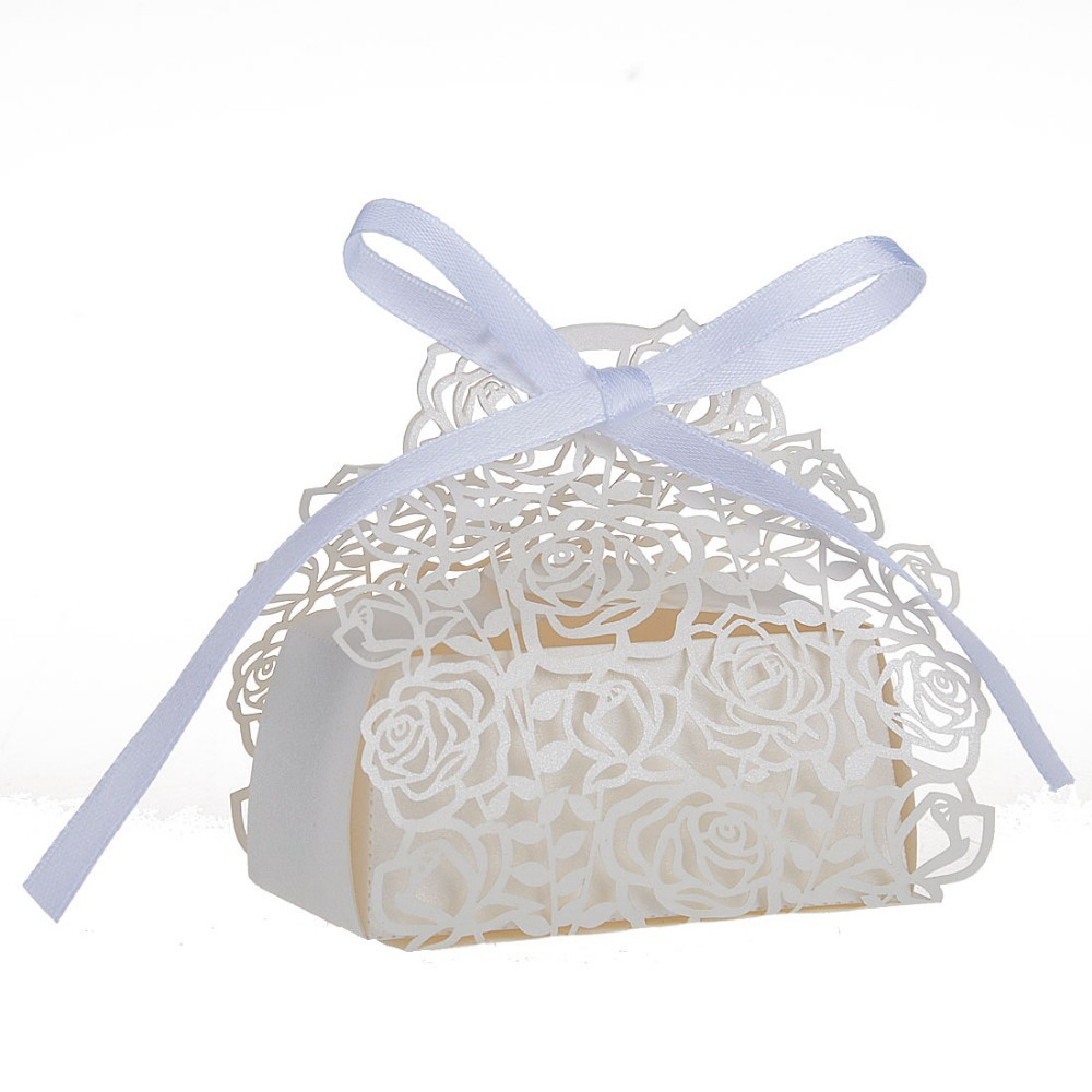 60Pcs Laser Cut Ivory Rose Paper Ribbon Souvenirs Gift Candy Box ...