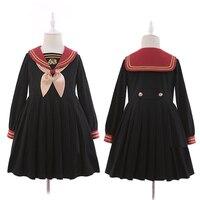 Leuke Preppy Stijl Kerst Bel Borduren vrouwen Japanse JK Uniform Stijl Sailor Jurk Geplooide Lange Mouwen met Strik Tie