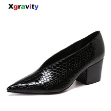 Xgravity 2019 Autumn New Designer Vintage Evening Shoes Ladi