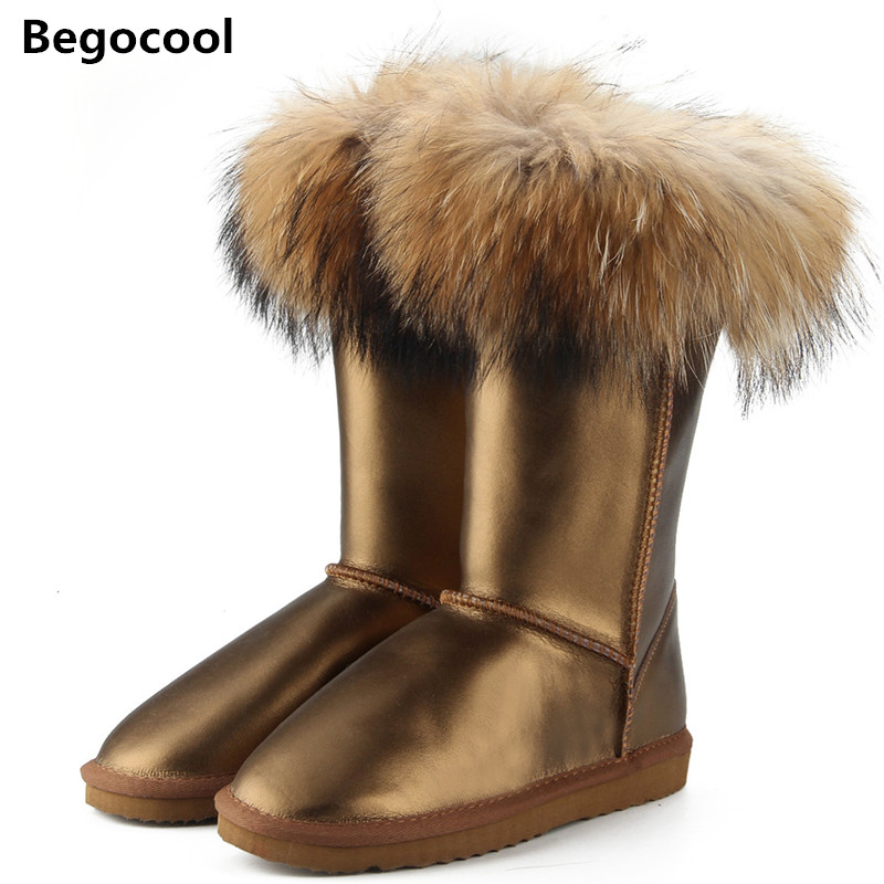 New Shipping Fashion UG Boots Women High Boots Women Snow Boots 100% Genuine Waterproof Winter Shoes Natural Fox Fur Leather australia classic lady shoes high quality waterproof genuine leather snow boots fur winter boots warm classic women ug boots