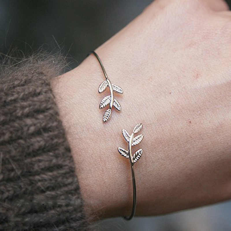 11.11 Hot New Fashion Open the Leaf ID Bracelets Women Jewelry Double Gold Silver Bilezik Opening Gift Mujer Pulseras
