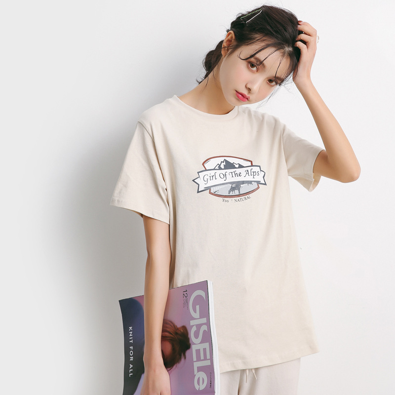 2019 new Fashion Short-sleeved  with round neck and monogrammed print T-shirt For Women Freeshipping