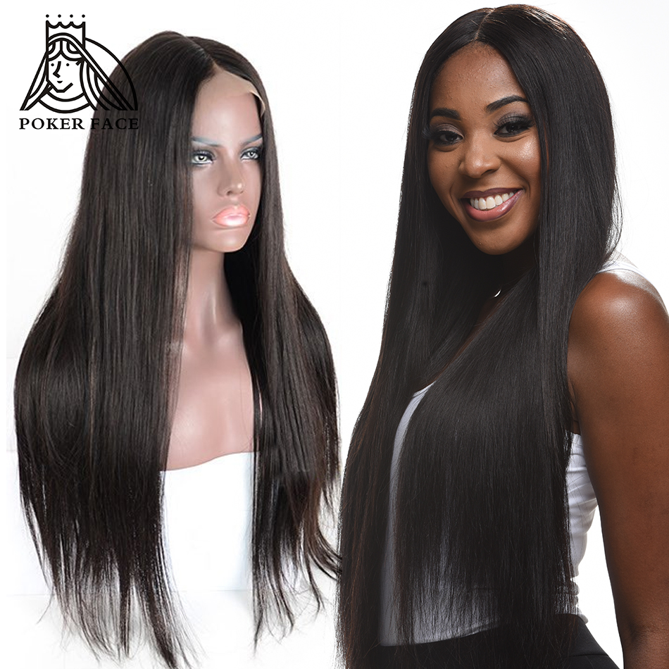 Poker Face Human Hair 360 Full Lace Frontal Wig Straight Brazilian Remy Hair 250 Density Pre