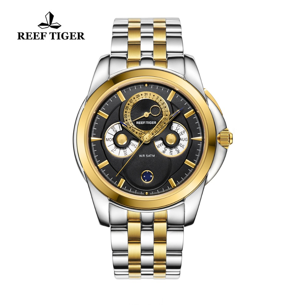 Reef Tiger/RT Fashion Watches Date Calendar Moon Phase Two Tone Yellow Gold Dress Watch Multi-Functional Watches RGA830 bodycon two tone knit slip dress