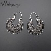 African Tribal Gypsy Antique Silver Gold Chandelier Hoop Earrings For Women Carved Hollow Vintage Ear Piercing