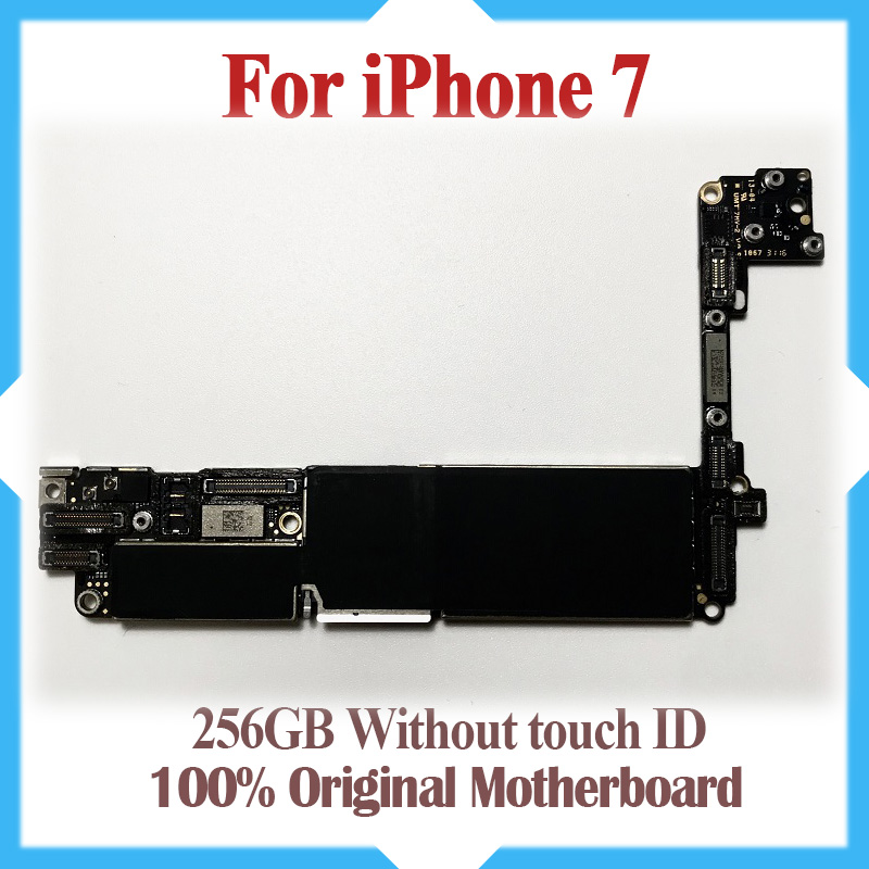 256GB 100 Original unlocked for iPhone 7 4 7inch Motherboard without Touch ID for iphone 7