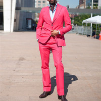 2017 Hot Pink groom Men Suits Blazer With Pants Fashion Big Lapel Slim Fit Groomsmen Wedding Party suit Tuxedos (Jacket+Pants)