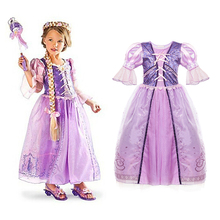 Little Girls Rapunzel Dress Children Fantasy Cosplay Costume with Ribbons Kids Halloween Party Clothes Princess Purple