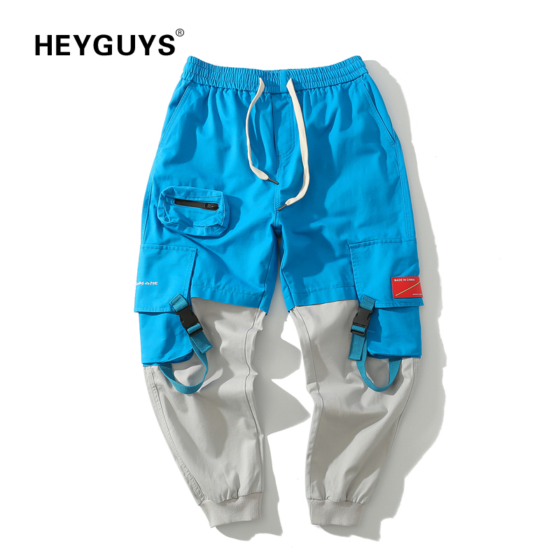 HEYGUYS Jogger-Trousers Sweatpants Button-Design Street-Wear Fitted-Bottoms Casual Fashion
