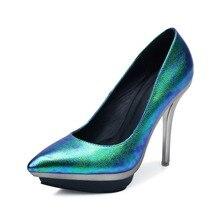 2015 Fashion Frühling Frauen Sexy Schuhe Fantasie Laser Spitz 12 cm Hohe Dünne Ferse Damen Party Kleid Plattform Pumpen großhandel