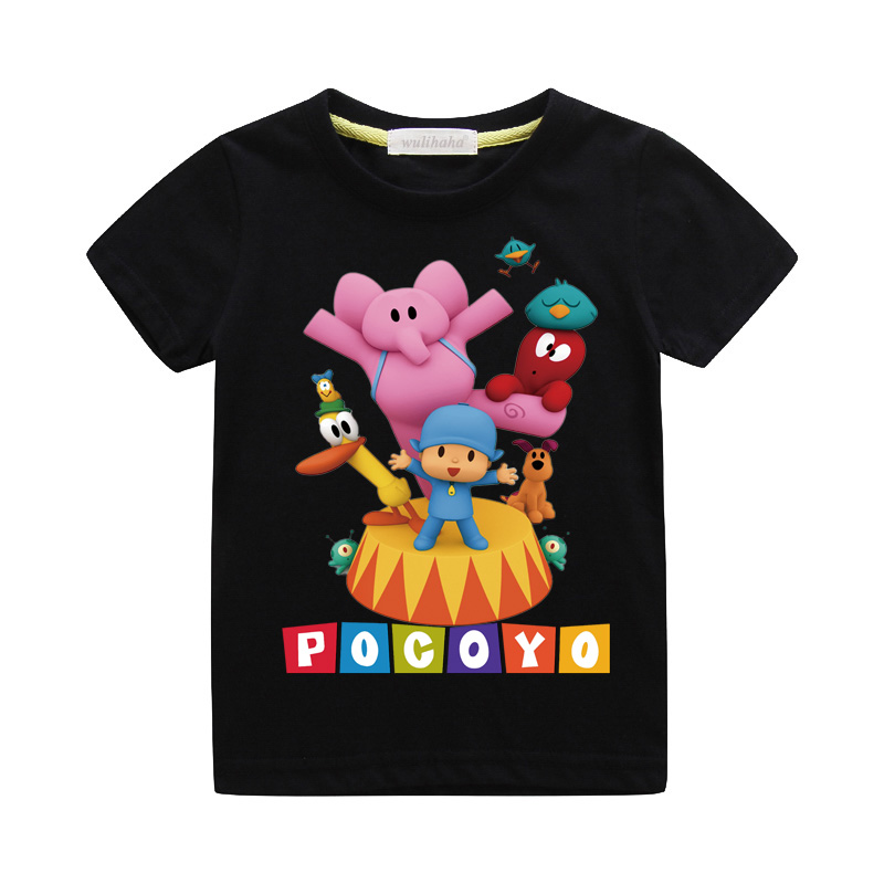 Girls Cute Cartoon Pocoyo Print T-shirts Costume Boys Short Sleeve Tshirts Clothing Children Summer Casual Tee Top Clothes ZA064 (4)