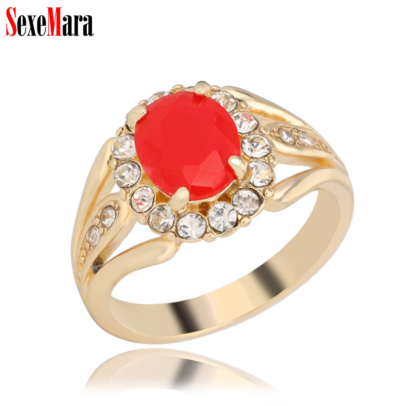 SexeMara Vintage Crystal Rhinestone Ring Men Women Alloy Plated Antique Gold 3 Colors Resin Retro Finger Rings Ladies Jewelry