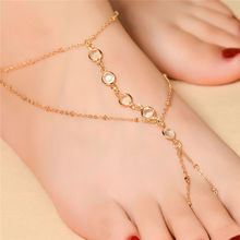 1Pcs Women Summer Metal Chain Toe Link Anklet Crystal Ankle Bracelet Fashion Multilayer Barefoot Sandals Foot Jewelry Beach