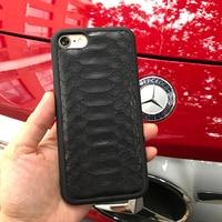 Natural Caso de la Cubierta Verdadera Del Cuero Genuino Para el iphone 8X7 más Caso 3D Caja Del Teléfono de Diseño de Piel de Serpiente Pitón nombre personalizado