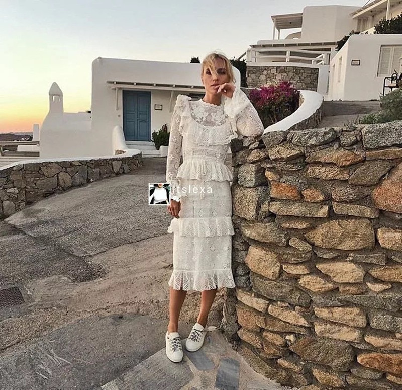 2019 Spring Dress Women Long Sleeve Hollow Out Dress High Quality Vestidos Female Cascading Ruffle New White Lace Dress