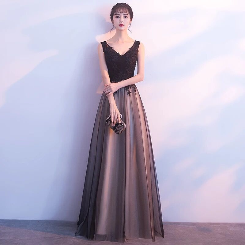 Evening Dress 2019 New Black Long Paragraph Dignified Atmosphere Banquet Host Graduate Day Party Dress Skirt Female