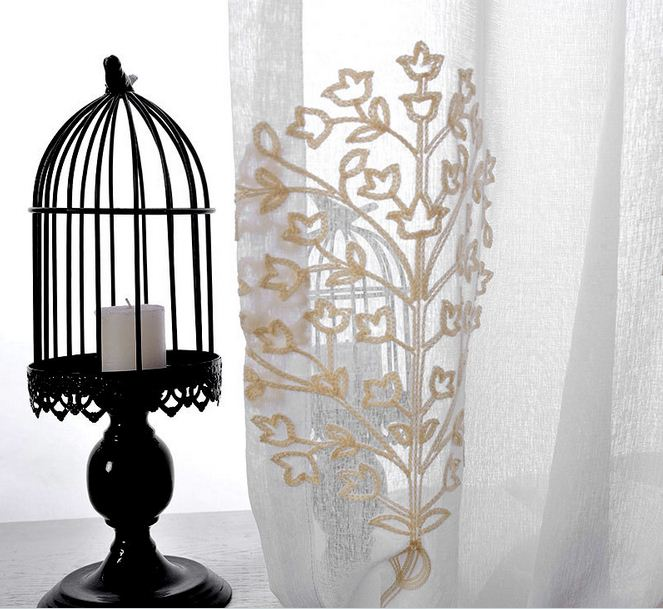 Aliexpress.com : Buy Embroidered Curtains for Living Room Plant ...