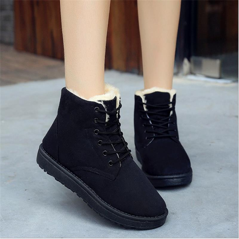 Hot selling winter women boot lace-up female ankle snow boots solid color warm comfortable ladies casual shoes women SST903