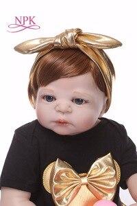 Image 4 - Npk 56cm boneca de silicone de corpo inteiro, renascida, vida real, princesa, bebê, boneca para presente do dia das crianças natal gif à prova d água