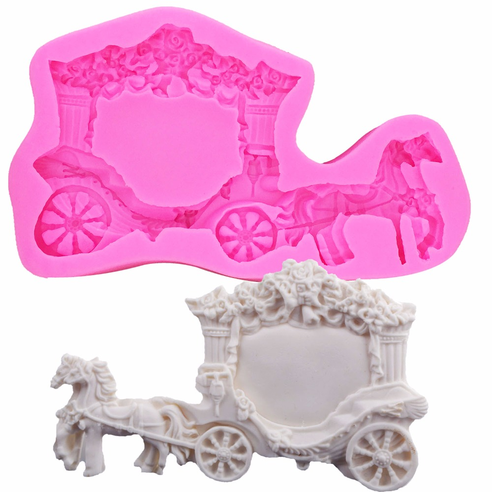 Cartoon Horse Carriage Silicone Mold 3D Craft Wedding Fondant Cake Decorating Tools Sugar Paste Fimo Clay Molds T1151