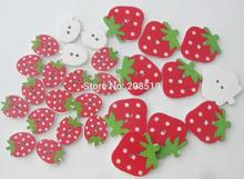 WBNAVS Red buttons strawberry shape fancy children 100 pieces DIY sewing accessories