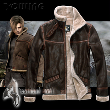 New Resident Evil Leon S Kennedy Cosplay Zipper Jacket Coat Stand Collar Leather