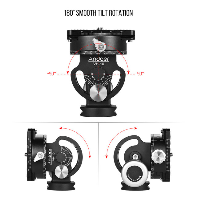 Andoer VH-10 2 Way Tripod Head Bird Watching Pan/Tilt Panoramic Head w/ Quick Release Plate Replacement for Sirui L10 RRS MH-02 1