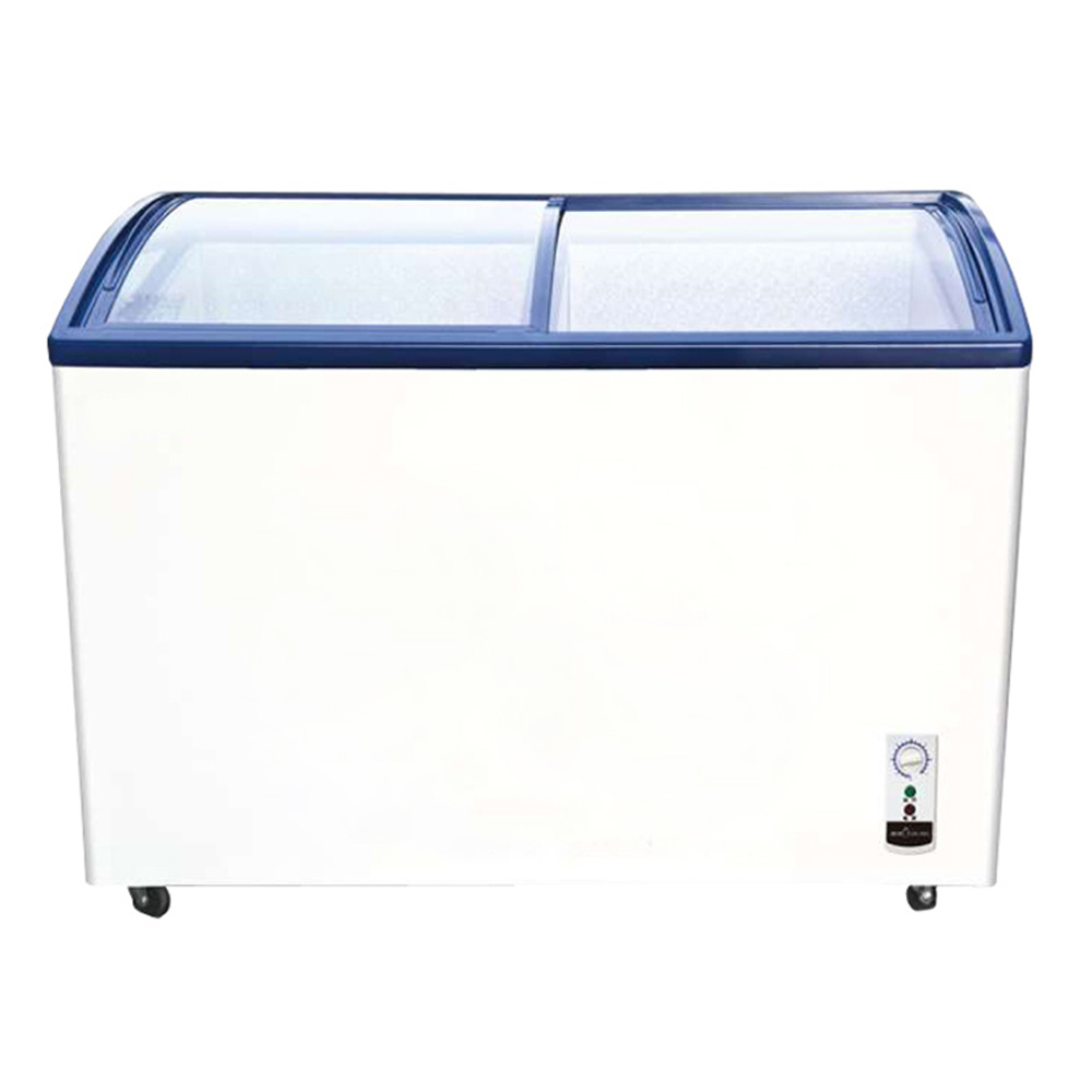 291 Liter Curved Glass Sliding Double Door Ice Cream