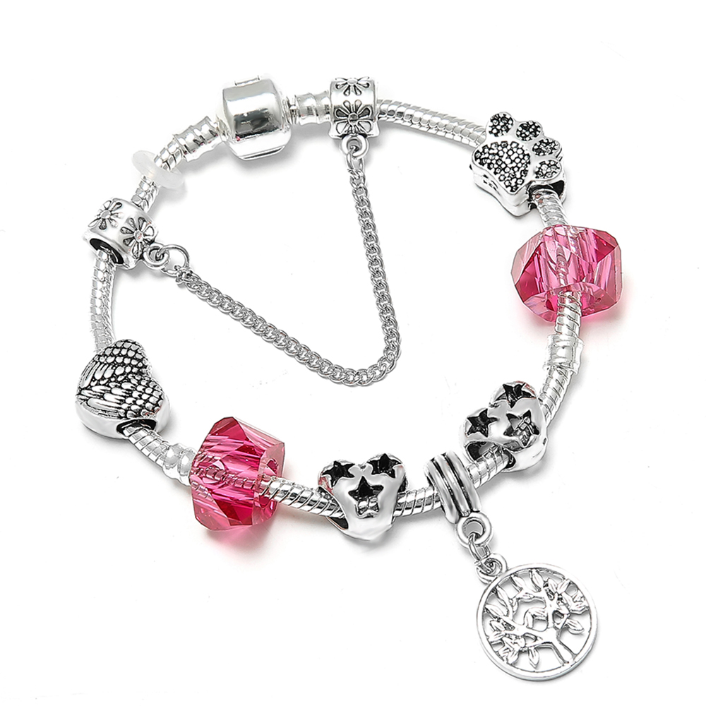 SPINNER Tree Of Life Pendant DIY Charm Bracelet Star Heart Bears Paw Pandora Bracelet for Women Jewelry Gift