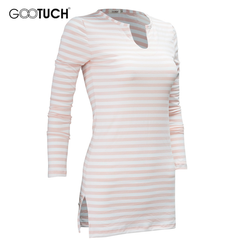 2017 Spring Autumn Long Sleeved Sleepwear Pajamas Nightdress Womens Striped Sleep Tops Female Casual Homewear 4XL 5XL 6XL 2542
