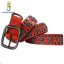 Unique New Design Men's Women's High Quality 3.8cm Unisex Retro Tip Nail Punk Rock Hip Hop Belts for Men Women NW0041 Jeans Belt