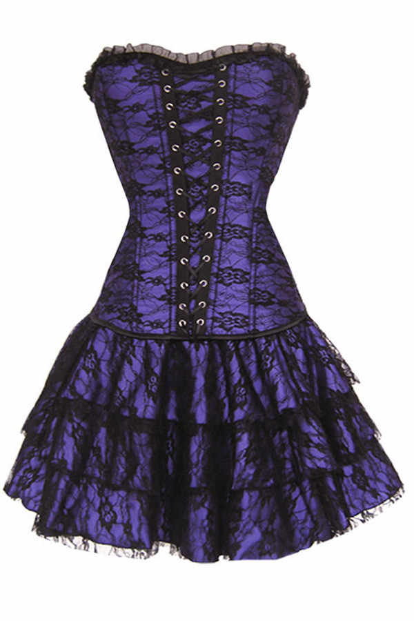 44a6056c33 ... Vocole Women Sexy Green/Red/Purple/Black Gothic Lace Corset and Skirt  Outfit ...