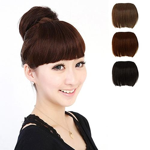Women Girls Beauty Clip on Front Hair Neat Bang Straight Fringe Hair Extension