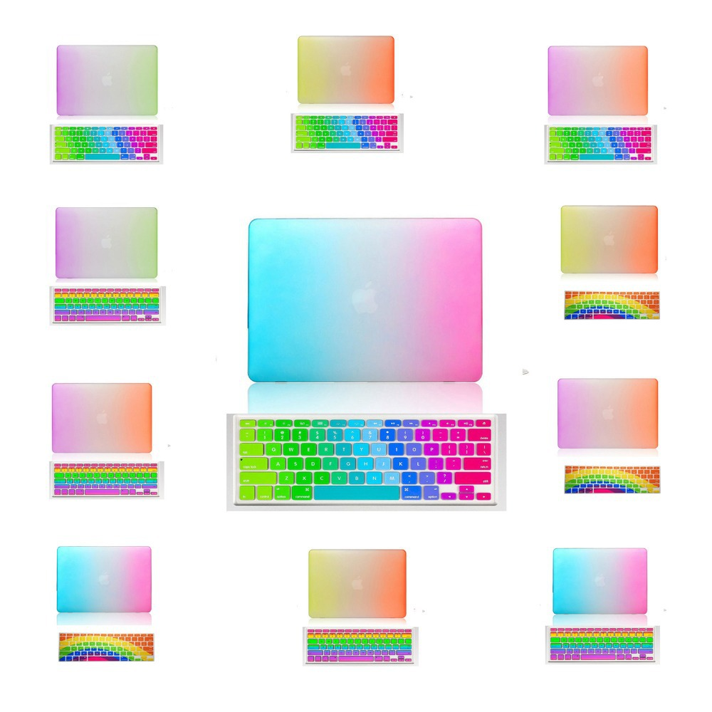 For Macbook Air 11 Case Rainbow Design Matte Rubberized Hard Cover Color Keyboard Protective Film