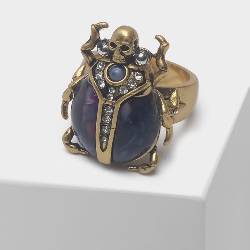 Beetle With Skull Design Retro Insect Ring
