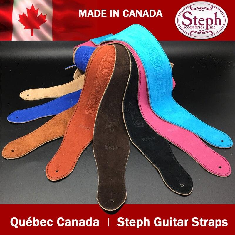Sangle de guitare en cuir véritable en daim BS-2214 fait main Steph, fabriquée au Canada
