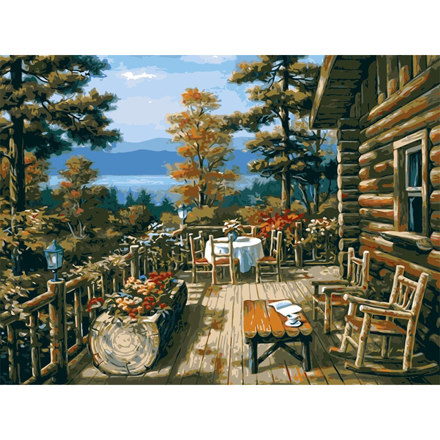 Qluo Oil Painting Exquisite Home Decor Log Cabin Tables And Chairs Picture By Numbers On Canvas Diy Handwork Gift