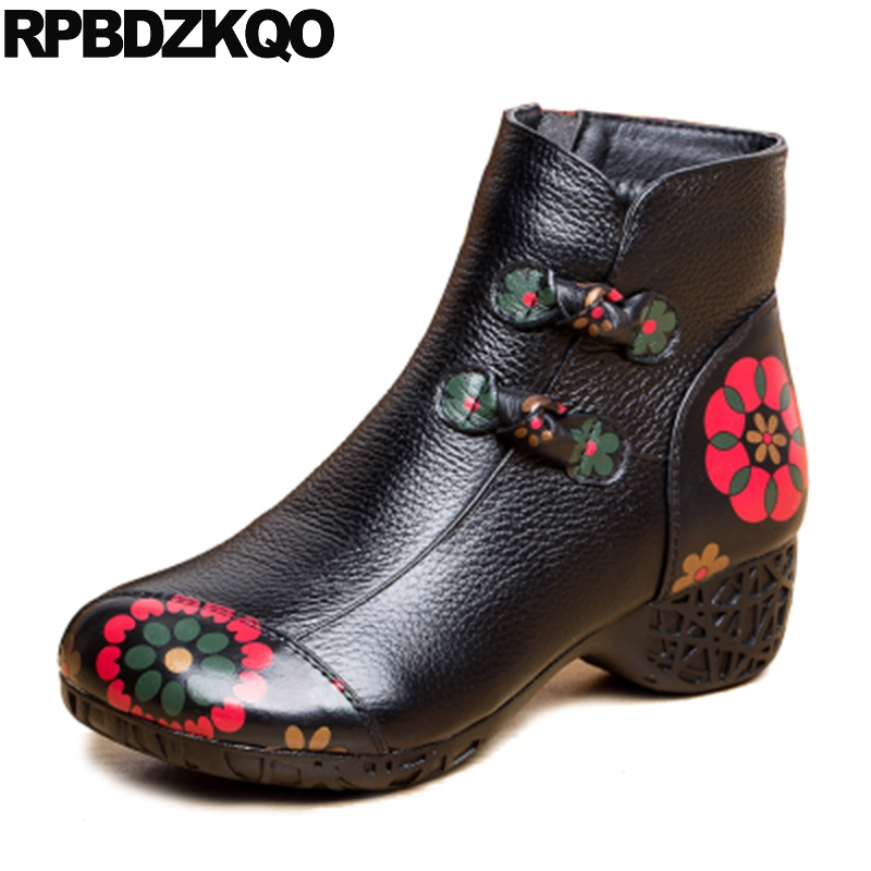 Winter Women Ankle Boots Medium Heel Thick Flower Printed Chunky Fur Booties High Vintage Round Toe Floral Print Shoes Black block platform high heel ankle short women boots medium chunky round toe shoes autumn 2017 vintage black booties chinese ladies