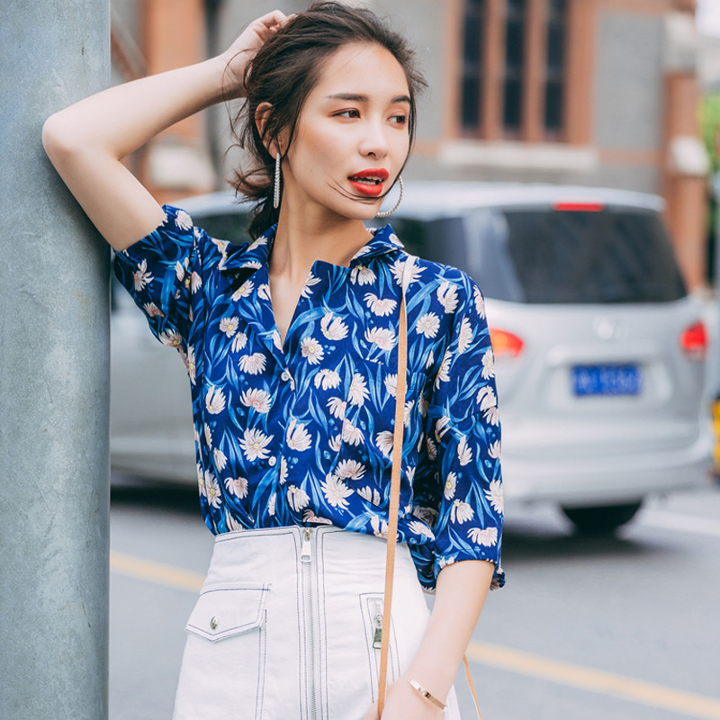 3799764c787e Cheerart 2017 Vintage Blue Floral Blouses Short Sleeve Button Shirt Women  Summer Loose Ladies Tops Korean Clothing-in Blouses   Shirts from Women s  Clothing ...